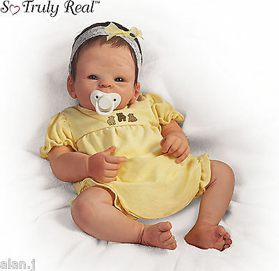 Ashton Drake Boo Bear Poseable - Weighted baby doll with Dummy