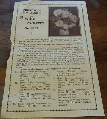 Vintage Directions For Making Bucilla Flowers