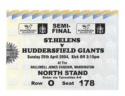 2004 - St Helens v Huddersfield Giants, Challenge Cup Semi-Final Match Ticket.