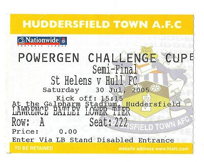 2005 - St Helens v Hull, Challenge Cup Semi-Final Match Ticket.