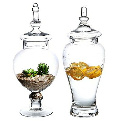 Set of 2 Large Decorative Clear Glass Apothecary Jars / Wedding Centerpieces ...