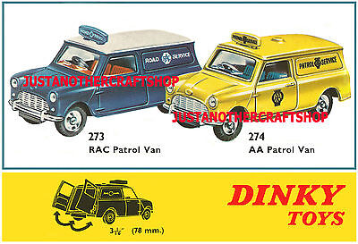 Dinky Toys 273 & 274 Mini Van RAC & AA Patrol Large Poster Advert Leaflet Sign