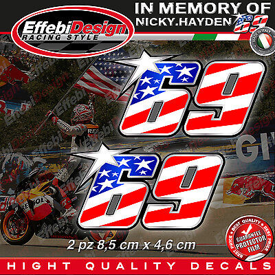 ADESIVI STICKERS 69 Kentucky Kid USA flag Nicky Hayden In Memory HIGHT QUALITY!4