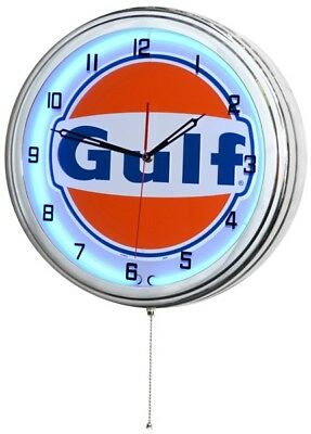 "Retro 15"" Blue Neon Gulf Oil Gas Service Station Garage Sign Man Cave Wall Clock"