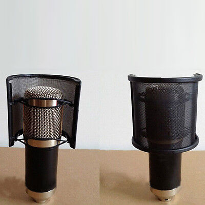 New Dual Layer Recording Microphone Mic Windscreen Filter Mask Shield Black