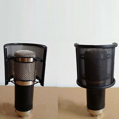 New Dual Layer Recording Microphone Mic Windscreen Pop Filter Mask Shield Black