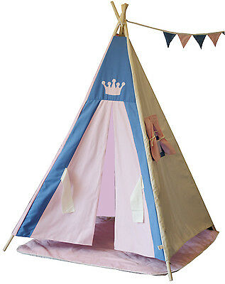 Teepee tipi Kids teepee tent play tent,princess teepee with poles, mat & flags