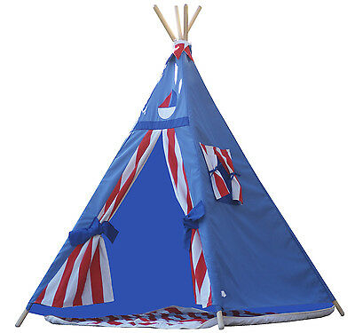 Teepee Tipi kids teepee tent play tent, sailor teepee with poles,mat and flags