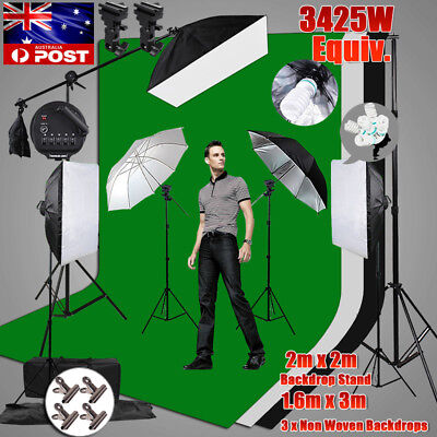 PRO. 3425W Photo Studio Softbox Continuous Lighting LARGE Backdrop Stand KIT NEW