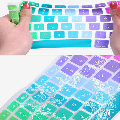 "1PC UK/EU Silicone Rainbow Keyboard Skin Cover For Macbook Air Mac 13""15""17"""