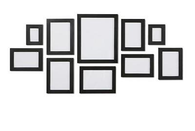 Black 10 Piece Multi Photo Picture Frame Frames Wall Aperture Set