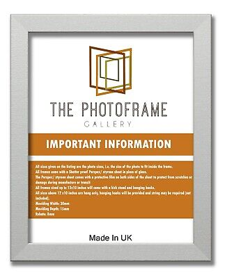 Chrome Silver Picture Frame Photo Metallic Effect Various Size Square