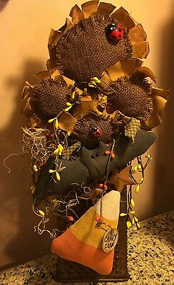PRIMITIVE HALLOWEEN DECOR CHEESE GRATOR CANDY CORN SUNFLOWERS Wreath Swag Pick