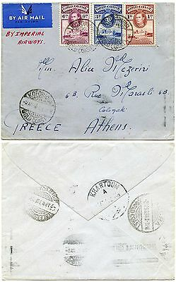 GOLD COAST to GREECE 1938 via KHARTOUM AIRMAIL + RAILWAY TPO KOFORIDUA EARLY USE