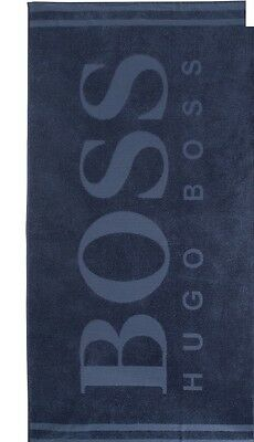New With Tag Authentic HUGO BOSS Beach Bath Towel Logo Embossed Blue Navy $139