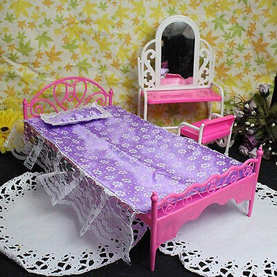 Plastic Miniatures Bedroom Furniture Single Bed for Barbie Dolls Dollhouse Gift
