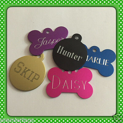 ID Tag Pet Free Engraved Double Side Dog Cat Heart Bone Small Large Chrome