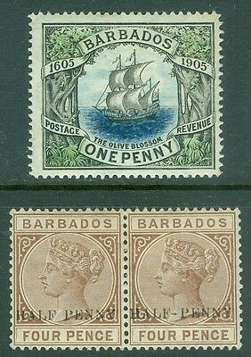 BARBADOS : 1892. Stanley Gibbons #104, 104a Pair. No Hyphen of left stamp + #152