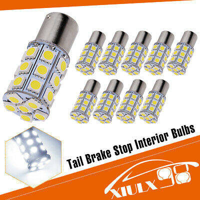 10x White 1156 BA15S 5050 27SMD RV Camper Trailer LED Interior Light Bulbs 12V