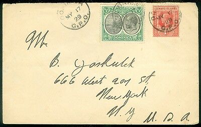 DOMINICA : 1929 cover to US w/nice Commercially used mixed franking w/Leewards.