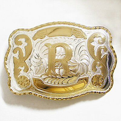 "Initial ""R"" Letter Large Gold & Silver Rodeo Western Cowboy Metal Belt Buckle"