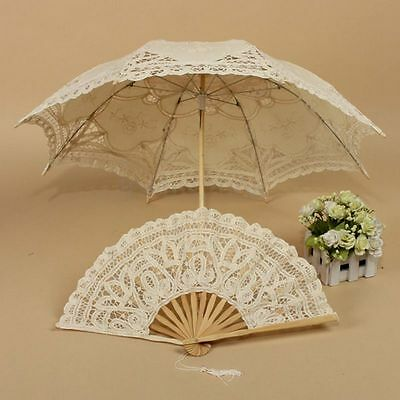 Retro Wedding Bridal Handmade Cotton Parasol Lace Sun Umbrella Hand Folding Fan