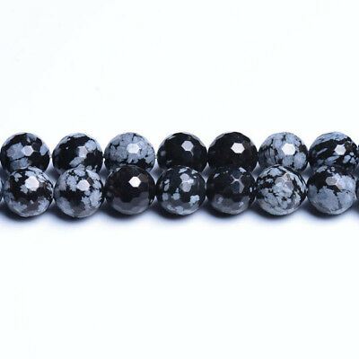 Strand Of 45+ Black/White Snowflake Obsidian 8mm Faceted Round Beads CB31146-3