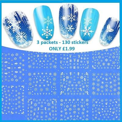 Nails Nail Art Stickers Decals Snowmen Snow Angels Silver Gold Glitter Christmas