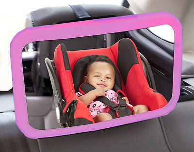 Wide Extra Large Baby Car Seat & Child Safety Parent View Travel Mirror - Pink