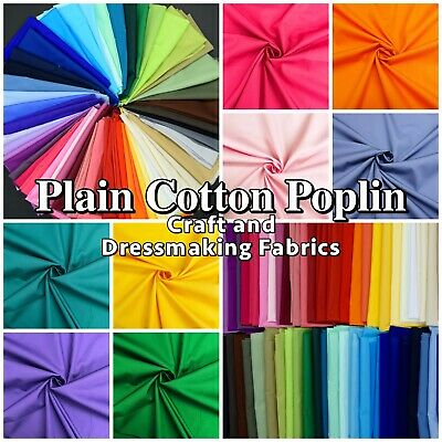 100% COTTON POPLIN SOLID PLAIN Dressmaking Craft Fabric Material 60+ Colours