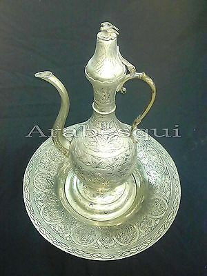ANT17 Antique/Vintage Pewter Turkish/Ottoman Pitcher With Original Tray