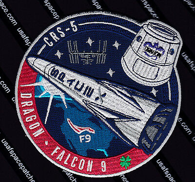 CRS-5 AUTHENTIC SPACEX FALCON 9 DRAGON ISS Commercial NASA SUPPLY Mission PATCH