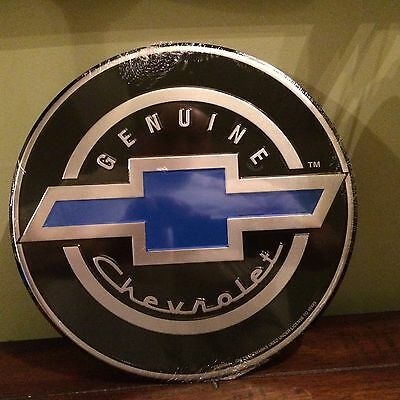 Genuine Chevrolet Bowtie Round Metal Tin Sign Garage Man Cave~Free Shipping