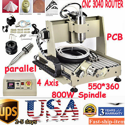 CNC Router 4 Axis 3040 800W spindle motor VFD engraving mahcine Mach3 UPS 110V