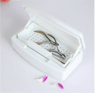 White Sterilizing Cleaning Tray Nail Art Brush Clipper Tools Disinfecting 117