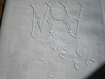 "ANTIQUE FRENCH Pure Linen SHEET - Large Monogram ""MV"" - Rare Width 98"""