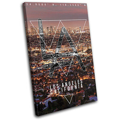 Los Angeles LA Typography City SINGLE CANVAS WALL ART Picture Print