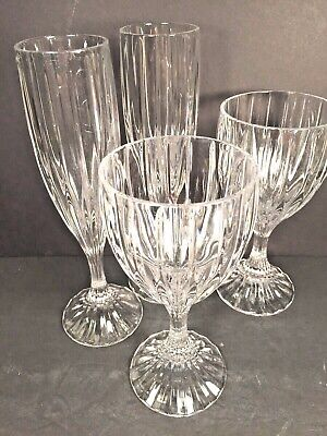 4 Mikasa Park Lane Crystal Glasses 2 Wine/Water & 2 Champagne Excellent Cond.