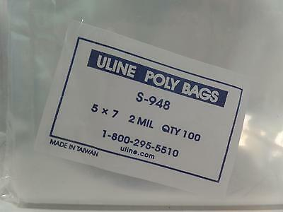 "Uline S-948 5x7"" 2 Mil Poly Bags Shipping Parts Clothing Protecting Food NEW 100"