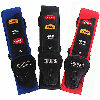Soldier Guitar Strap With 3 Free Plecs Electric Acoustic Bass Leather Ends