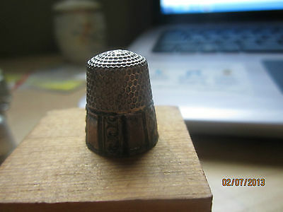 Antique Thimble Sterling Silver 9  Marked Sewing Equipment Primitive