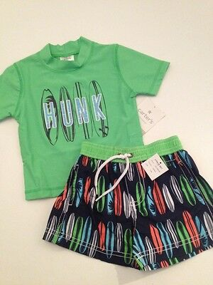 Carters Baby Boy Rash Guard Swimsuit Trunks Set Size 6 9 12 Months Green Surf