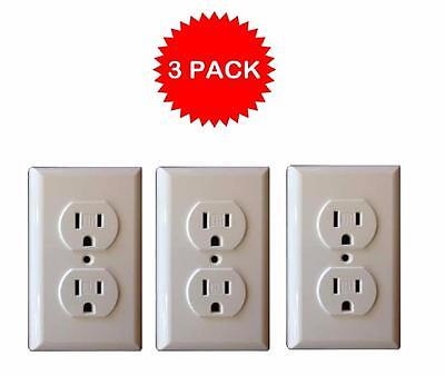 Shock Blocker Standard Baby & Child Safe Plate Electrical Outlet Covers (3 Pack)