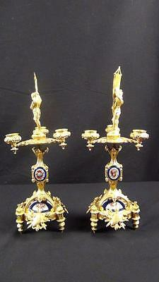 Antq 18th Cnty French Ormorlu Heraldry Medieval Figures Coat Of Arms Candelabras
