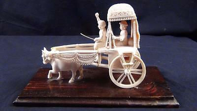 Antique India / Hindu Hand Carved Aristocrat, Chauffeur, Carriage & Ox