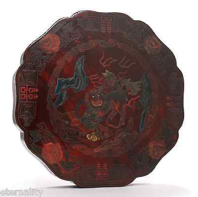 Antique China Qing Dynasty Chinese Lacquered Box Etui Case Jewelry Foo Dog 1900