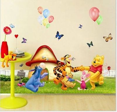 Winnie The Pooh Wall Stickers Nursery Boy Kids Baby Home Vinyl Art Decor Decal