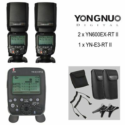 YongNuo YN600EX-RT II Flash For Canon x 2 + YN-E3-RT II Transmitter Diffuser UK
