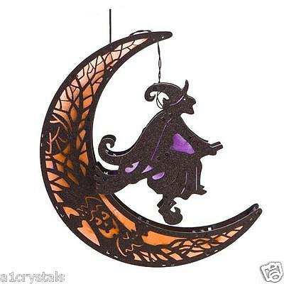 Mystical Black Witch on Broom with Orange Moon which Light Up 7 Colours LED
