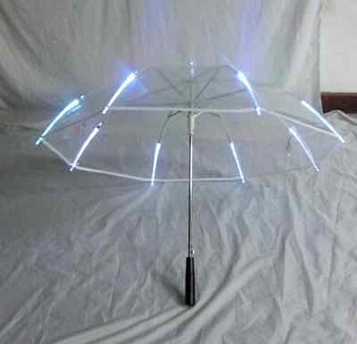 New Rib Light up Blade Runner Style LED Umbrella & Flashlight Winter Cool, White